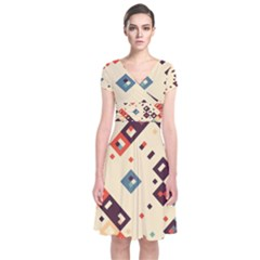 Squares in retro colors    Short Sleeve Front Wrap Dress