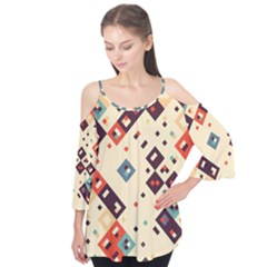Squares in retro colors    Flutter Sleeve Tee