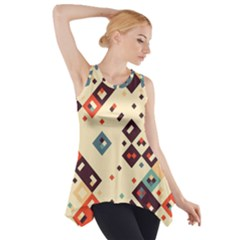 Squares in retro colors         Side Drop Tank Tunic