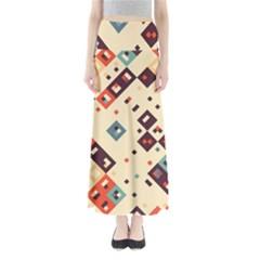 Squares in retro colors    Women s Maxi Skirt