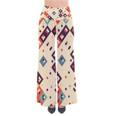Squares in retro colors   Women s Chic Palazzo Pants