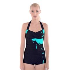 Abstraction Boyleg Halter Swimsuit