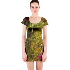 Dragonfly Dragonfly Wing Insect Short Sleeve Bodycon Dress