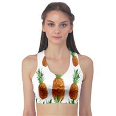 Pineapple Print Polygonal Pattern Sports Bra