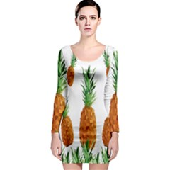 Pineapple Print Polygonal Pattern Long Sleeve Bodycon Dress