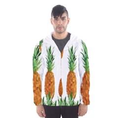 Pineapple Print Polygonal Pattern Hooded Wind Breaker (men)