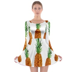 Pineapple Print Polygonal Pattern Long Sleeve Skater Dress