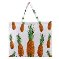 Pineapple Print Polygonal Pattern Zipper Large Tote Bag