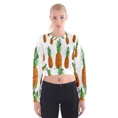 Pineapple Print Polygonal Pattern Cropped Sweatshirt