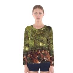 Red Deer Deer Roe Deer Antler Women s Long Sleeve Tee