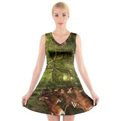 Red Deer Deer Roe Deer Antler V-Neck Sleeveless Skater Dress