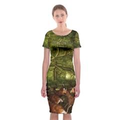 Red Deer Deer Roe Deer Antler Classic Short Sleeve Midi Dress