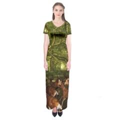 Red Deer Deer Roe Deer Antler Short Sleeve Maxi Dress