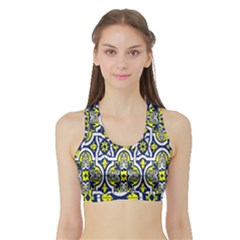 Tiles Panel Decorative Decoration Sports Bra With Border