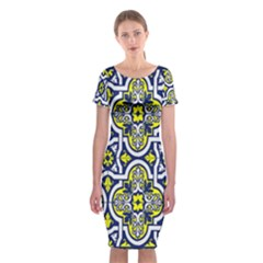 Tiles Panel Decorative Decoration Classic Short Sleeve Midi Dress