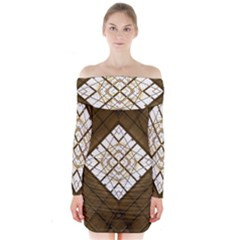 Steel Glass Roof Architecture Long Sleeve Off Shoulder Dress