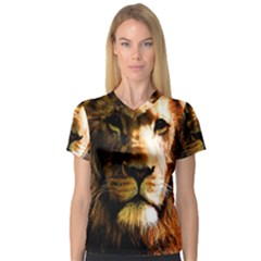 Lion  Women s V-Neck Sport Mesh Tee