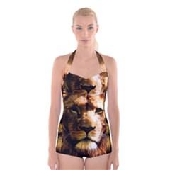 Lion  Boyleg Halter Swimsuit