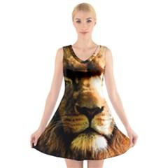 Lion  V-Neck Sleeveless Skater Dress