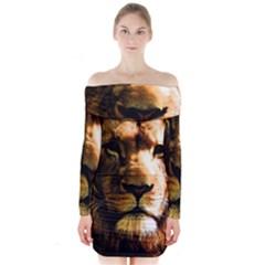 Lion  Long Sleeve Off Shoulder Dress