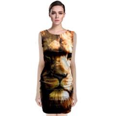 Lion  Sleeveless Velvet Midi Dress