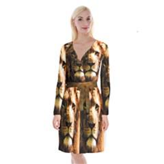 Lion  Long Sleeve Velvet Front Wrap Dress
