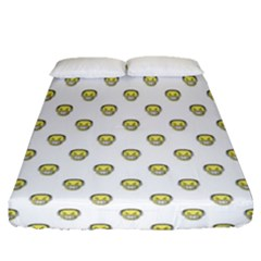Angry Emoji Graphic Pattern Fitted Sheet (Queen Size)