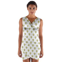 Angry Emoji Graphic Pattern Wrap Front Bodycon Dress