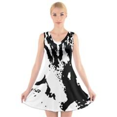 Cat V-Neck Sleeveless Skater Dress