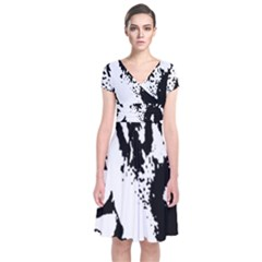 Cat Short Sleeve Front Wrap Dress