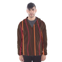 Colorful Striped Background Hooded Wind Breaker (Men)