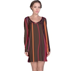 Colorful Striped Background Long Sleeve Nightdress