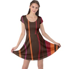 Colorful Striped Background Cap Sleeve Dresses