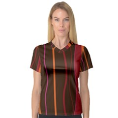 Colorful Striped Background Women s V-Neck Sport Mesh Tee