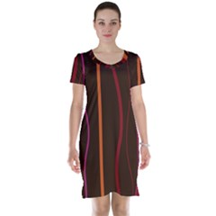 Colorful Striped Background Short Sleeve Nightdress