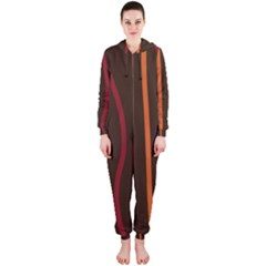 Colorful Striped Background Hooded Jumpsuit (Ladies)
