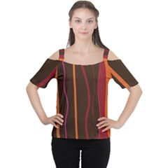 Colorful Striped Background Women s Cutout Shoulder Tee