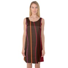 Colorful Striped Background Sleeveless Satin Nightdress