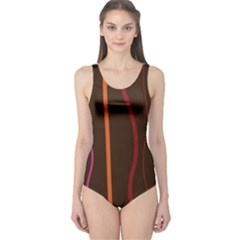 Colorful Striped Background One Piece Swimsuit