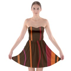 Colorful Striped Background Strapless Bra Top Dress