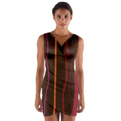 Colorful Striped Background Wrap Front Bodycon Dress