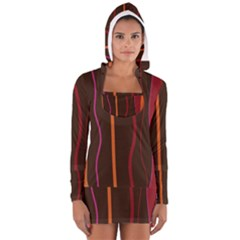 Colorful Striped Background Women s Long Sleeve Hooded T-shirt