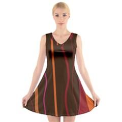 Colorful Striped Background V-Neck Sleeveless Skater Dress
