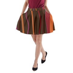 Colorful Striped Background A-Line Pocket Skirt