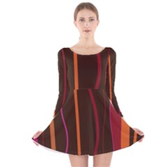 Colorful Striped Background Long Sleeve Velvet Skater Dress