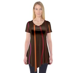 Colorful Striped Background Short Sleeve Tunic
