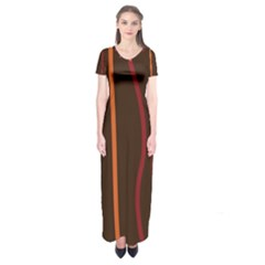 Colorful Striped Background Short Sleeve Maxi Dress