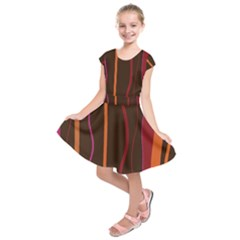 Colorful Striped Background Kids  Short Sleeve Dress