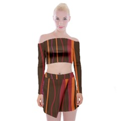 Colorful Striped Background Off Shoulder Top with Skirt Set