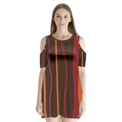Colorful Striped Background Shoulder Cutout Velvet  One Piece